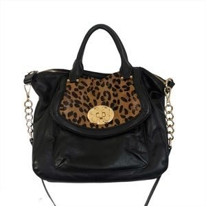 Emma Fox Black Leather Leopard Print Shoulder Bag